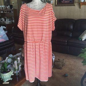Orange and white colored striped plus size dress